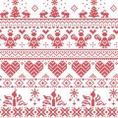 Fotografia Candele di Natale nordico scandinavo senza cuciture modello di punto croce con angeli, conigli, gli alberi di Natale, fiocchi di neve, in bianco e rosso con gli ornamenti decorativi