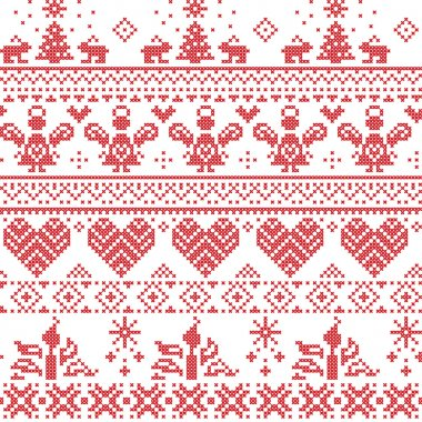 Scandinavian Nordic Christmas seamless cross stitch pattern with angels, Xmas trees, rabbits, snowflakes, candles in white and red with decorative ornaments