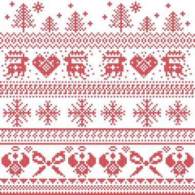 Scandinavian nordic xmas pattern with reindeer,rabbits, xmas trees, angels, bow, heart, in cross stitch