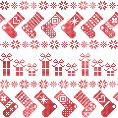 Scandinavian Nordic Christmas pattern with stockings, stars, snowflakes, presents in cross stitch in red