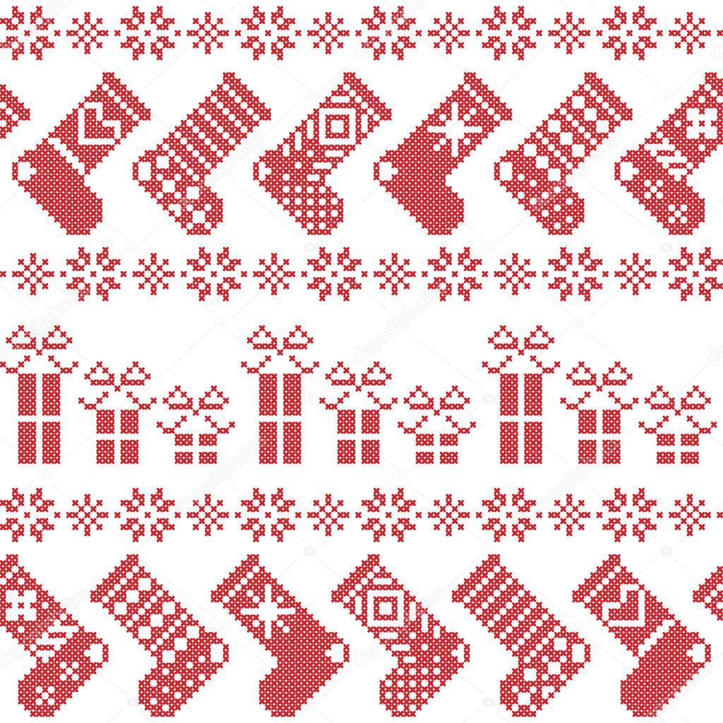 Skandinavische Weihnachten Nordische Muster mit Strümpfen, Sterne ...
