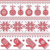 Fotografia Dimensione in punti di scandinavo Nordic reticolo di Natale con le bagattelle di Natale, guanti, stelle, fiocchi di neve, ornamenti di Natale, elemento di neve, cuori in croce rossa