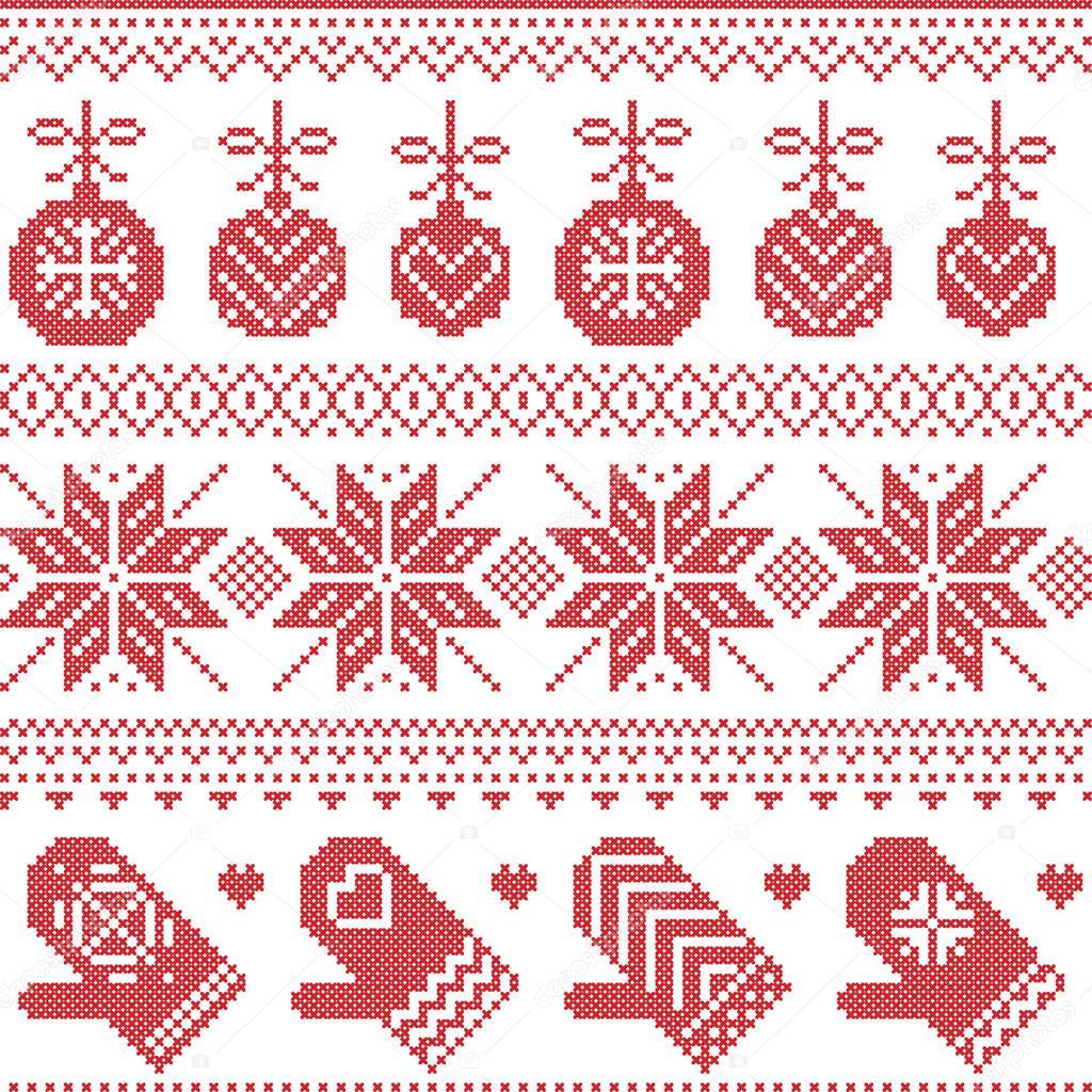Skandinavischen nordischen nahtlose Weihnachten Muster mit Xmas ...