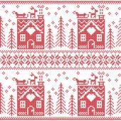 Fotografia Reticolo senza giunte di Natale nordico scandinavo con la casa di marzapane, neve, renne, slitta di Natale Babbo, alberi, stelle, neve, regalo di Natale, fiocchi di neve in red cross stitch