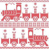 Fotografia Scandinavian Christmas Nordic Seamless Pattern con gravy train, fiocchi di neve, regali, stelle, cuori, neve, in Schema punto croce