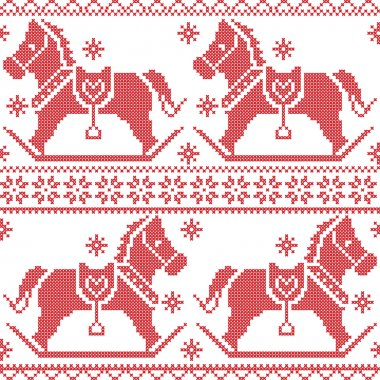 Scandinavian seamless Nordic Christmas pattern with rocking horses, snowflakes,hearts,  snow, stars, decorative ornaments in red cross stitch