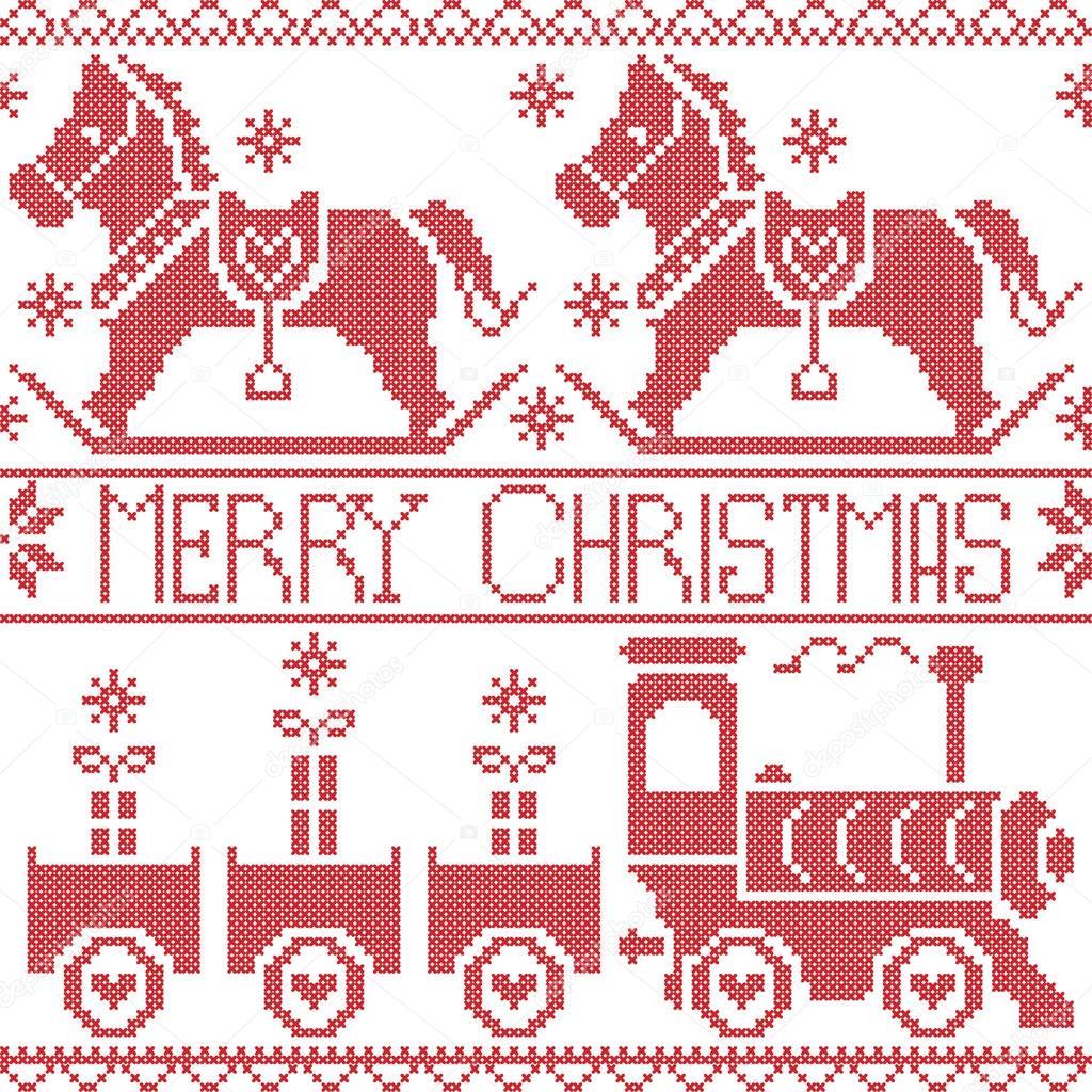 Frohe Weihnachten skandinavischen nahtlose Nordische Muster mit ...