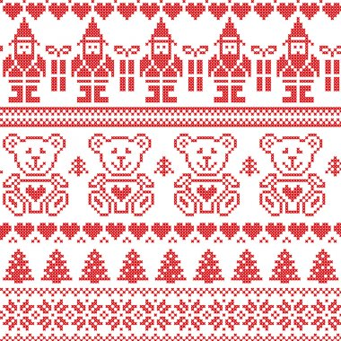 Scandinavian inspired Nordic xmas seamless pattern with elf, stars, teddy bears, snow, xmas  trees, snowflakes, stars, snow, decorative ornaments  in red cross stitch