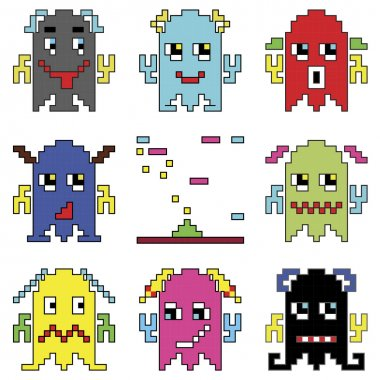 Pixelated robot emoticons 1 shooting spaceship element inspired by 90's computer games showing different emotions stock vector