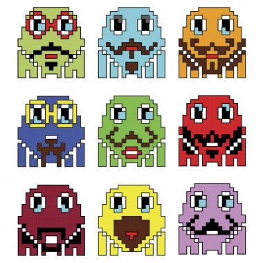 Pixelated robot Hipster 2 emoticons  inspired  by 90's vintage video computer  games showing vary emotions with stroke