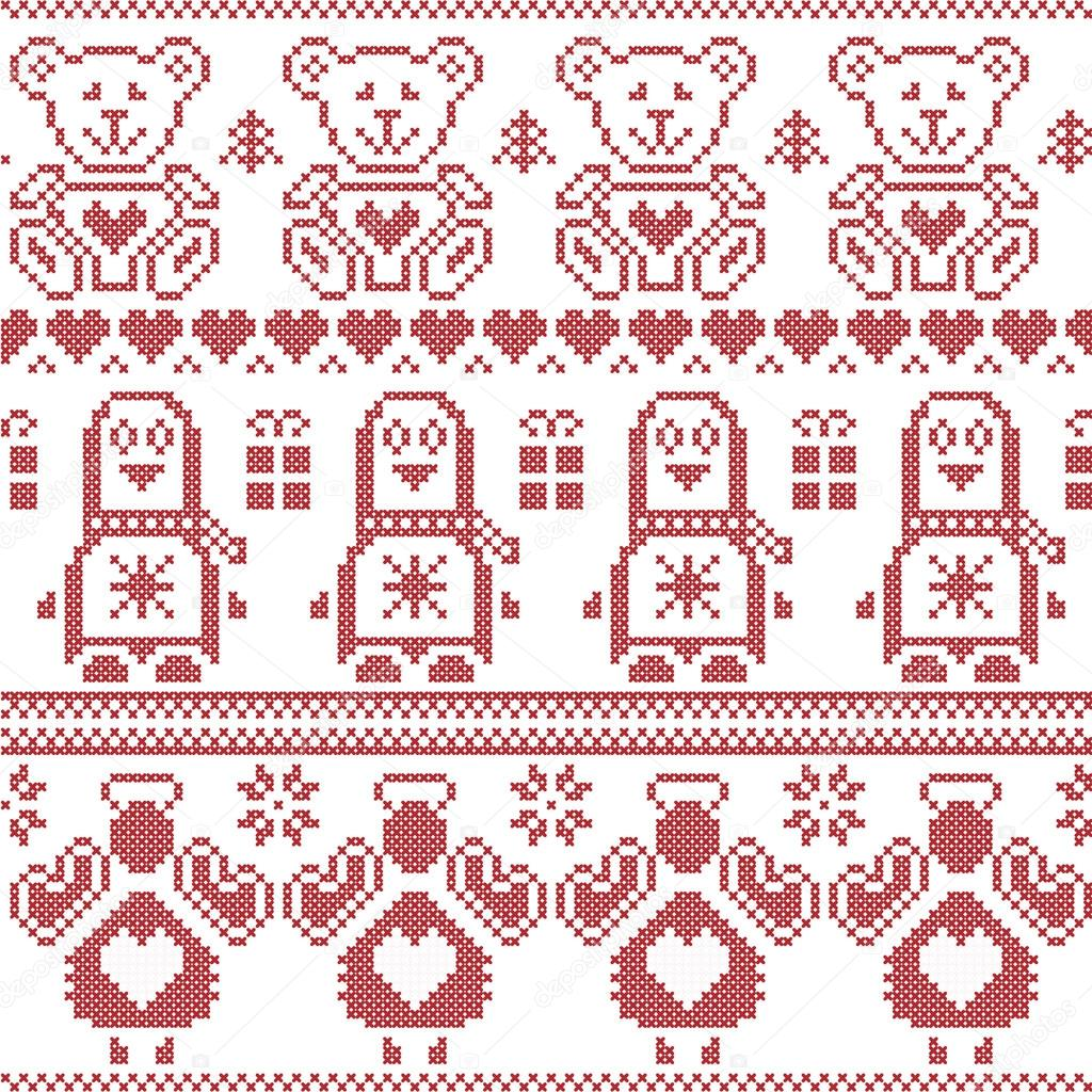 Nordic christmas ornaments - Scandinavian Vintage Christmas Nordic Seamless Pattern With Penguin Angel Teddy Bear Xmas Gifts Hearts Decorative Ornaments Christmas Trees In Red