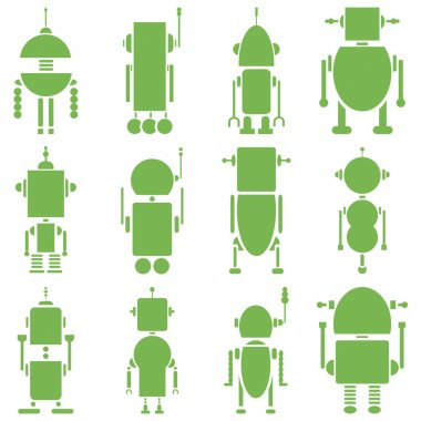Vintage retro robots 2 plain in green
