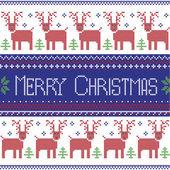 Fotografia Blu scuro, rosso e verde scandinavo ispirato modello nordico di buon Natale con 2 righe di patten di renne, fiocchi di neve, alberi, ornamenti decorativi in punto croce