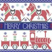 Fotografia Scuro blu, rosso, blu, nero, rosso e verde Merry Natale scandinavo senza cuciture nordico con gravy train, i regali di Natale, cuori, a dondolo cavallo pony, stelle, fiocchi di neve in punto croce