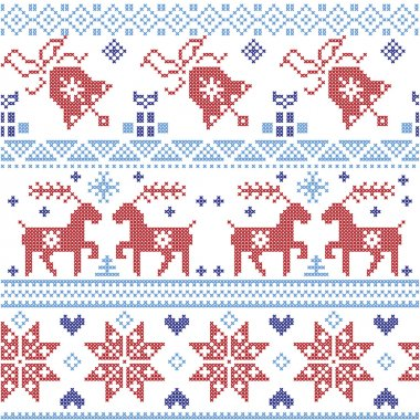 Dark and light blue and red  Scandinavian Christmas  cross stitch pattern including reindeer, snowflake, star, Xmas tree, bell, presents in scandinavian style cross stitch