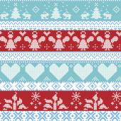 Fotografia Light blue, blue, white and red Scandinavian Nordic Christmas seamless cross stitch pattern with angels, Xmas trees, rabbits, snowflakes, candles, ribbons with decorative ornaments