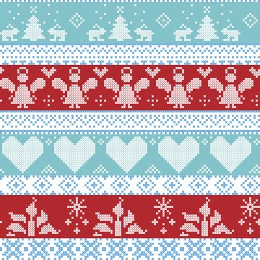 Light blue, blue, white and red Scandinavian Nordic Christmas seamless cross stitch pattern with angels, Xmas trees, rabbits, snowflakes, candles, ribbons with decorative ornaments