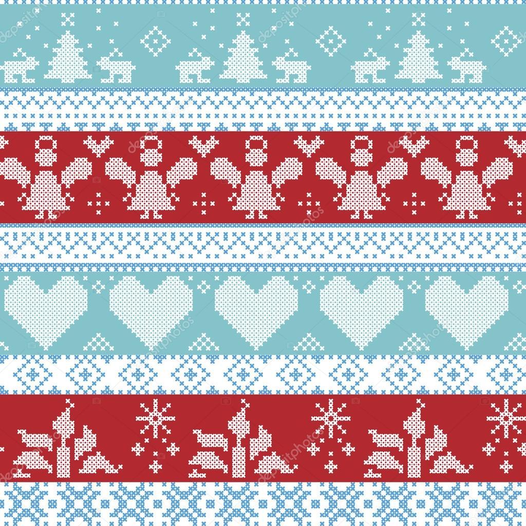 Hellblau, blau, weiß und rot skandinavischen Nordic Weihnachten ...