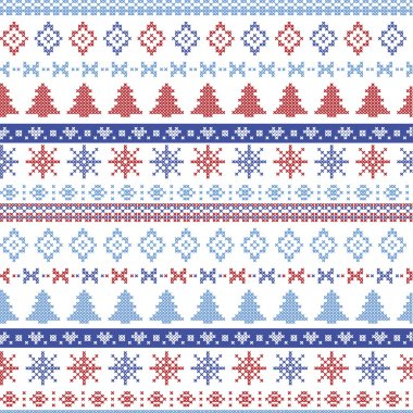Dark and light blue and red Christmas Nordic pattern with snowflakes, trees ,  xmas trees and decorative ornaments in scandinavian knitted cross stitch