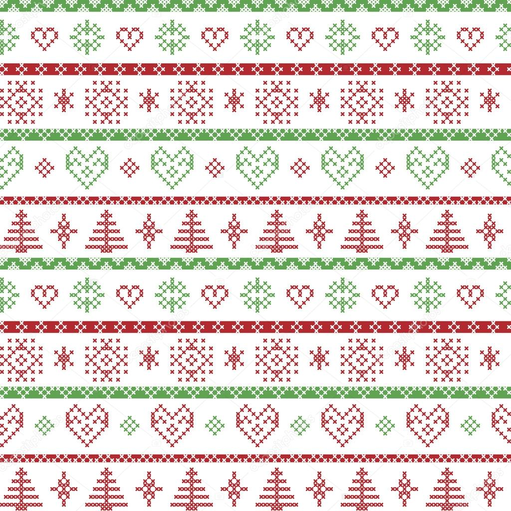 Red and green on the white background Nordic Christmas pattern with ...