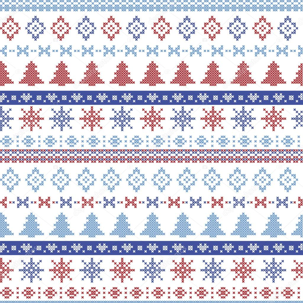Dark and light blue and red Christmas Nordic pattern with snowflakes ...