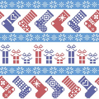 Dark blue, light blue and red Nordic Christmas pattern with stockings, stars, snowflakes, presents, decorative ornaments in scandinavian cross knitted cross stitch