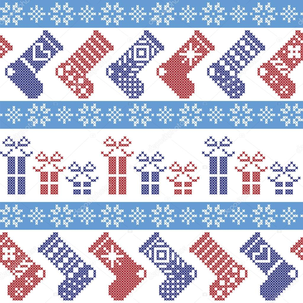 Dark blue, light blue and red Nordic Christmas pattern with ...