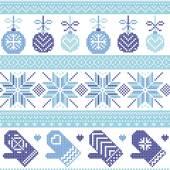 Fotografia Scandinavo Nordic reticolo di Natale con le bagattelle di Natale, guanti, stelle, fiocchi di neve, ornamenti di Natale, elemento di neve, cuori in tre tonalità di blu Croce cucire per maglieria