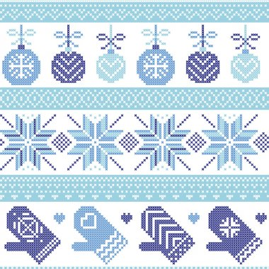 Scandinavian Nordic seamless Christmas pattern with Xmas baubles, gloves, stars, snowflakes, Xmas ornaments, snow element, hearts in three shades of blue cross stitch knitting