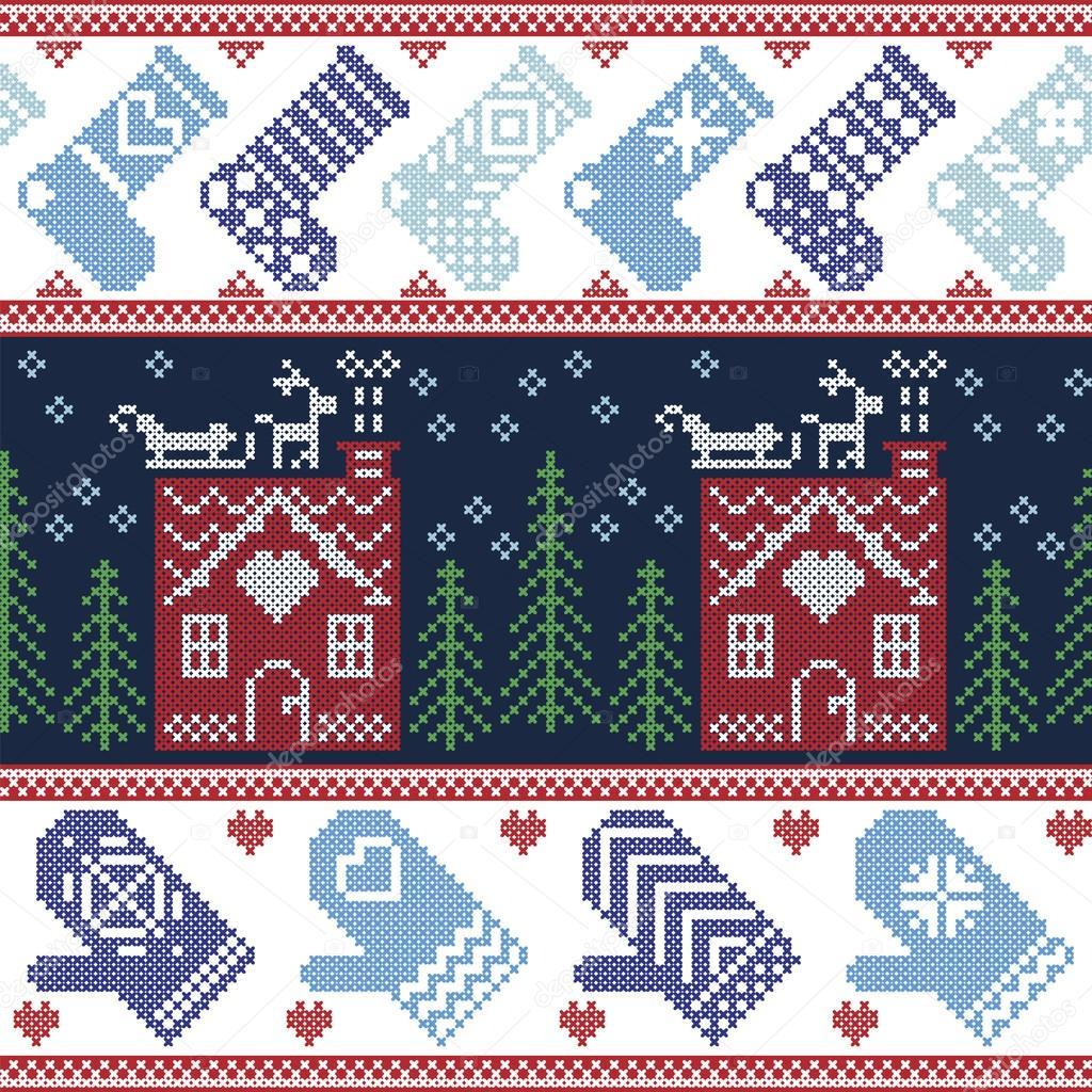 Skandinavische Nordic Christmas nahtlose Muster mit Lebkuchen-Haus ...