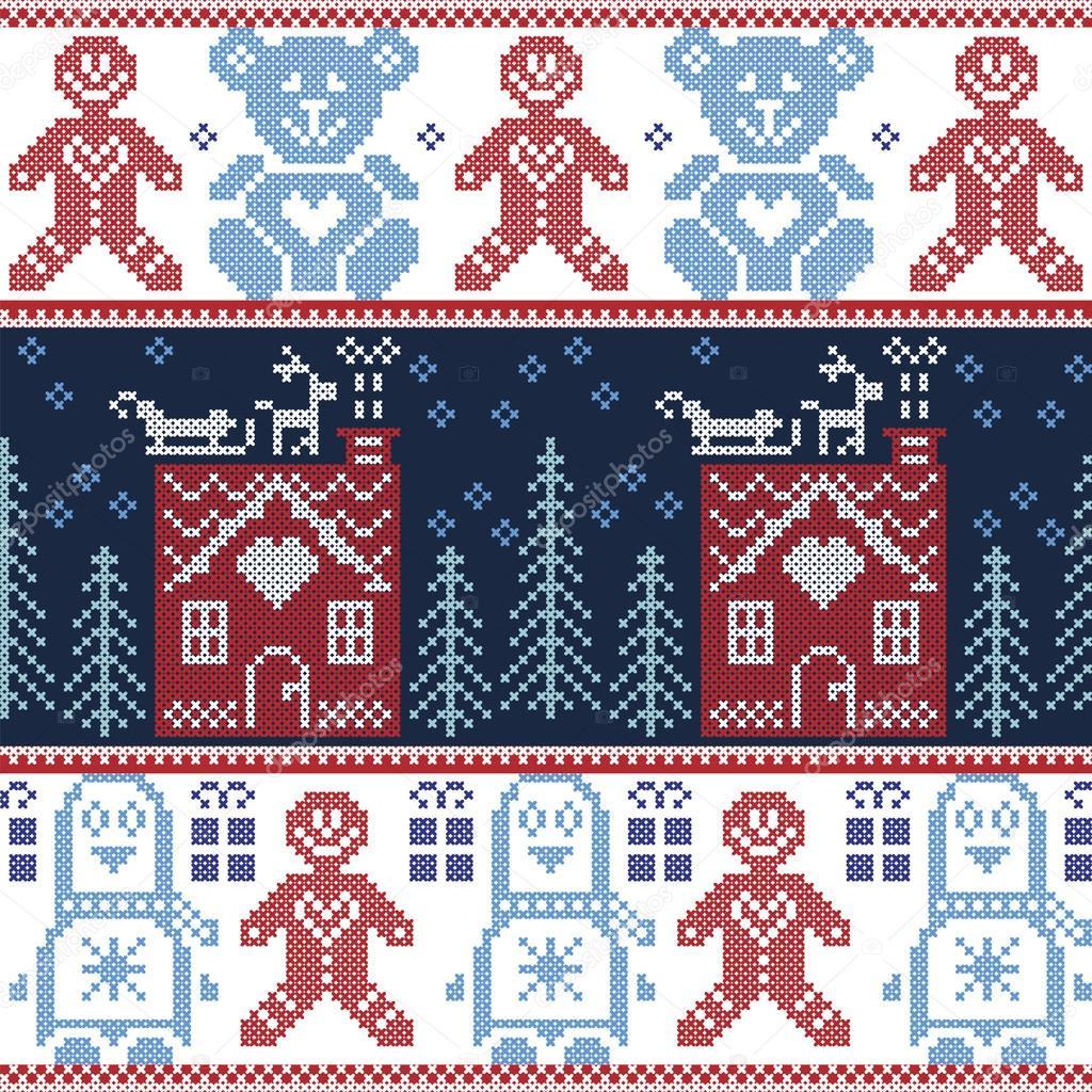 Patrón transparente de Navidad nórdica escandinava con casa de pan ...