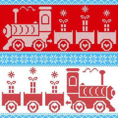Blue, red and white Scandinavian Christmas Nordic Seamless Pattern with gravy train, gifts, stars, snowflakes, hearts, snow, in cross stitch pattern