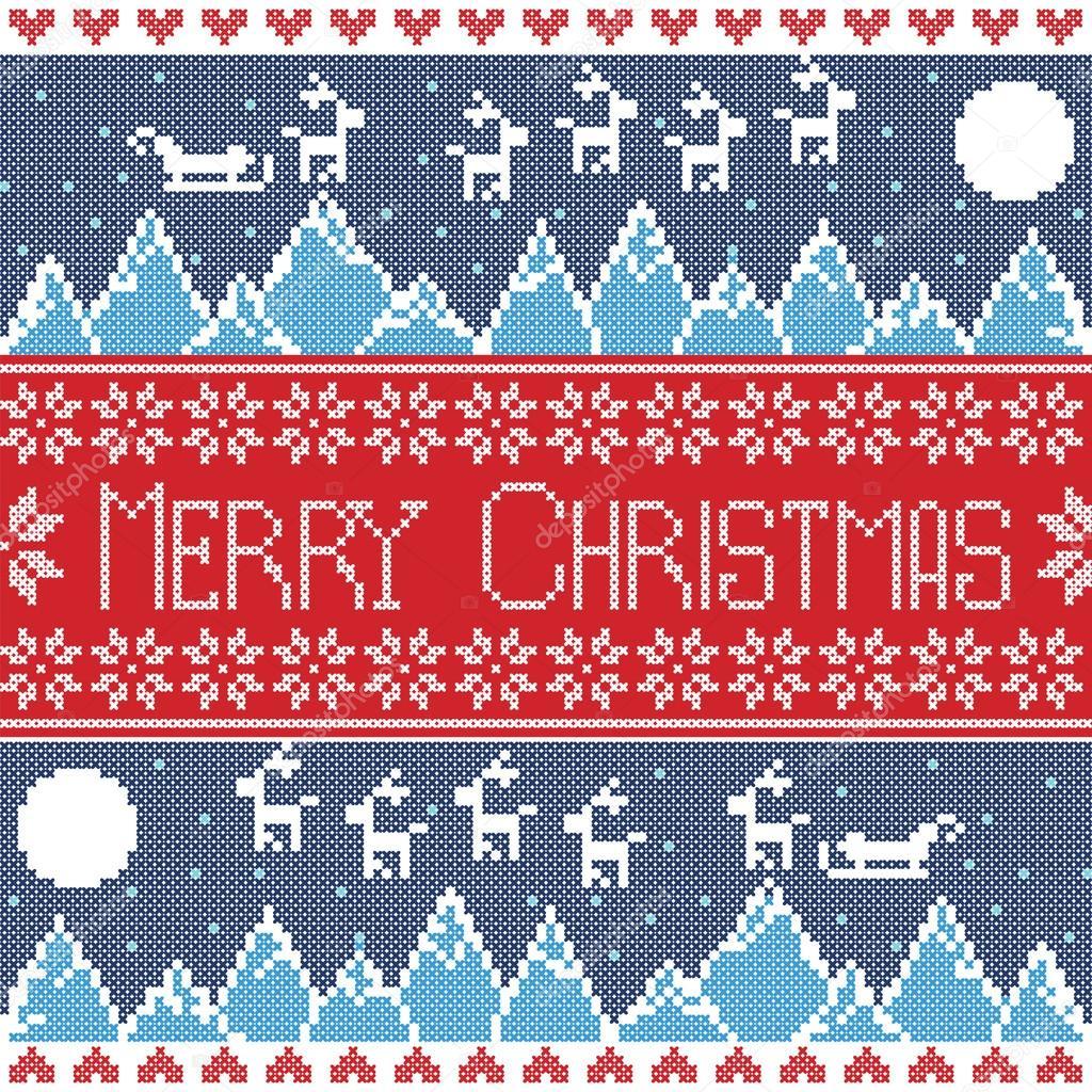 Skandinavische muster blau  rot und dunkel blau skandinavischen Merry Xmas nahtlose Nordische ...
