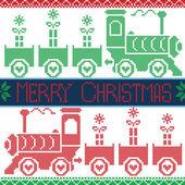 Fotografia Verde, rosso e blu scuro Merry Xmas scandinavo Natale Nordic Seamless Pattern con gravy train, fiocchi di neve, regali, stelle, cuori, neve, in Schema punto croce