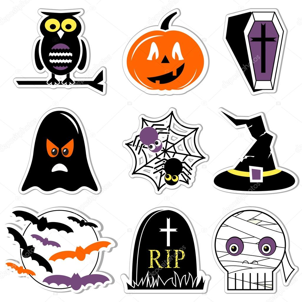 Halloween Icons Set In Color Labels Style Including Owl Pumpkin