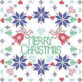 Fotografia Stile scandinavo a Merry Xmas punto invernale nordico, lavoro a maglia senza cuciture a forma quadrata tra cui alberi, cuori, fiocchi di neve, elementi decorativi in piastrelle blu, rossa