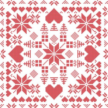 Scandinavian style Nordic winter stich , knitting seamless pattern in the square shape including snowflakes, xmas gifts, xmas trees, hearts and  Decorative elements in red