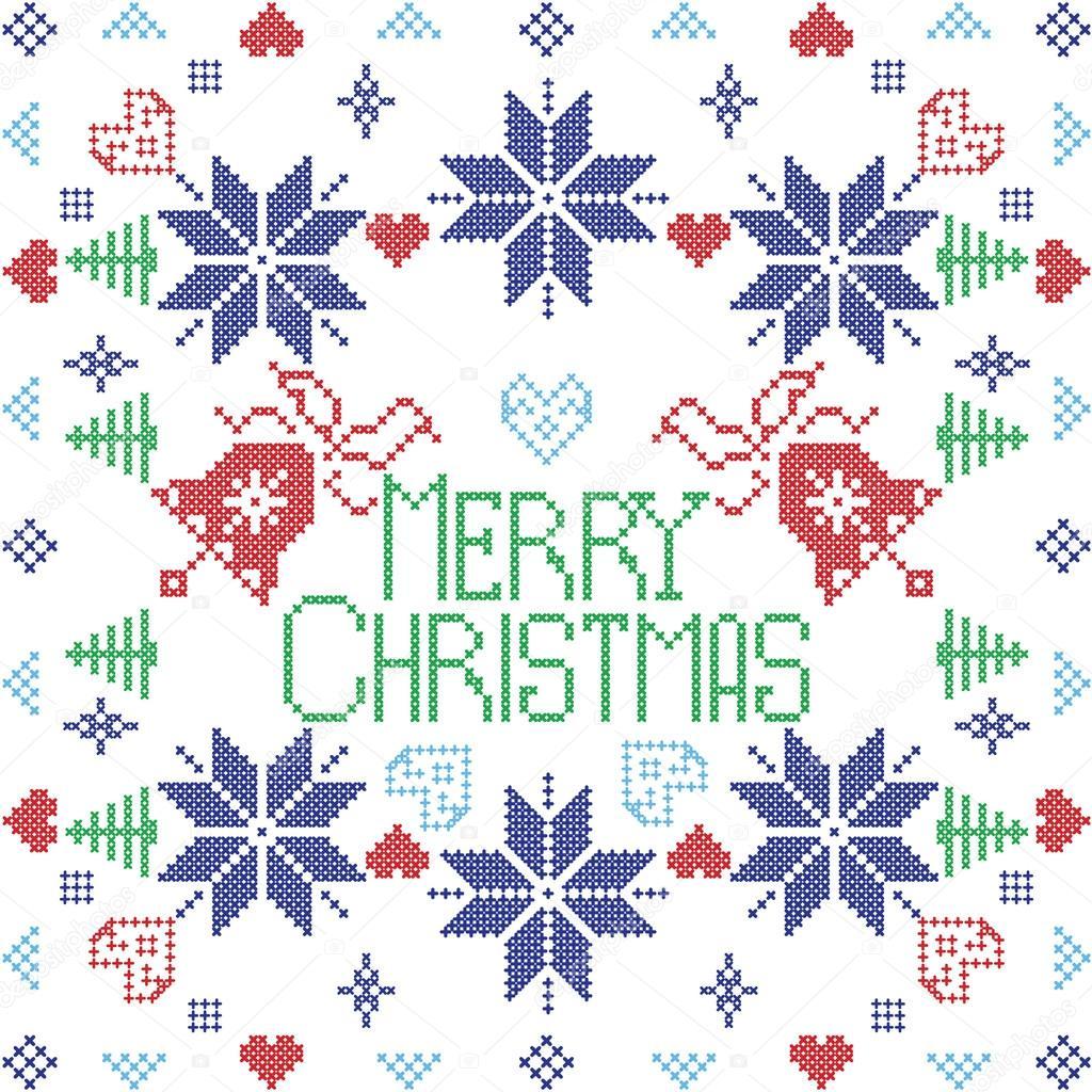 Estilo escandinavo de feliz Navidad puntada del invierno nórdico ...