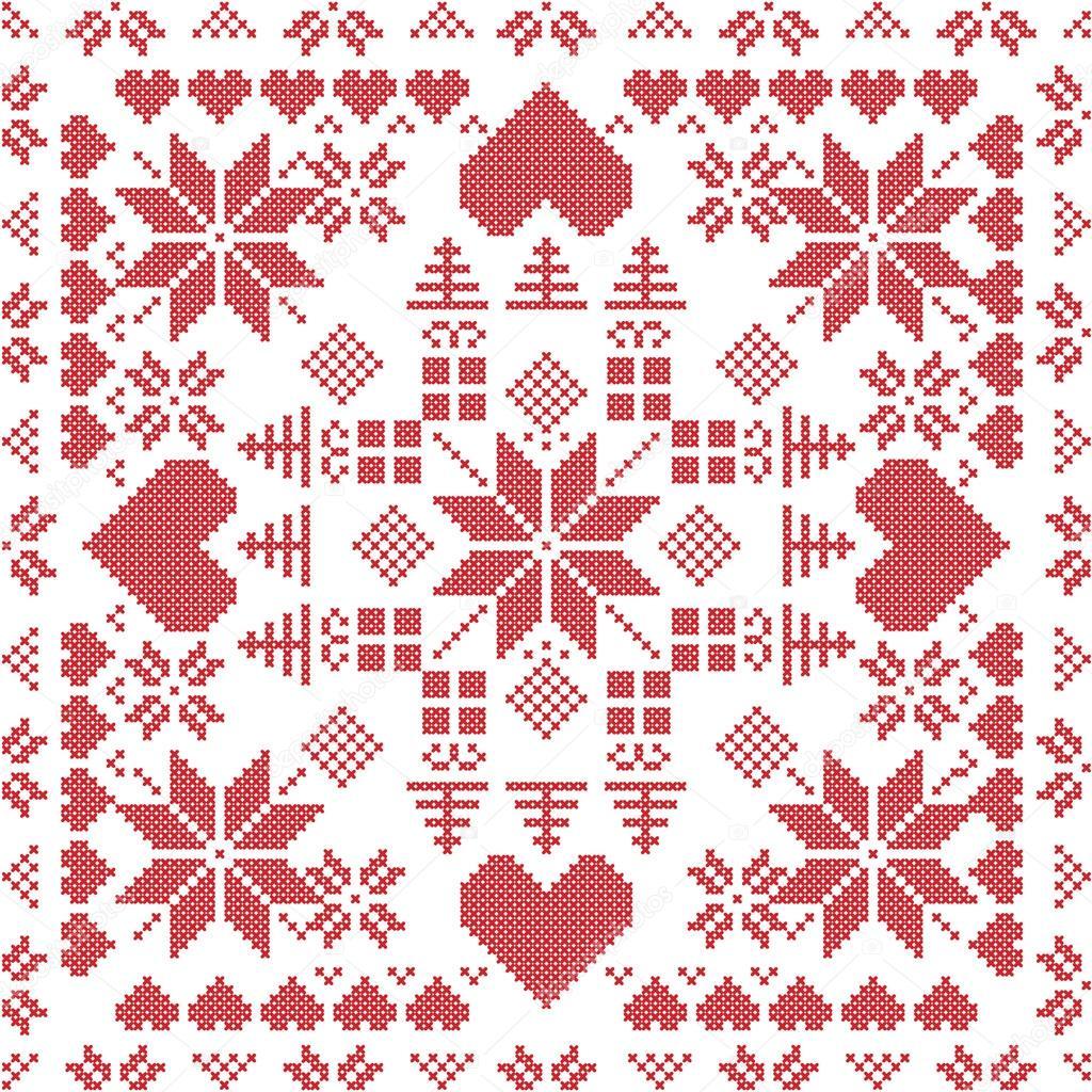 Skandinavischen Stil Nordic Winter-Stich, nahtlose Muster in die ...