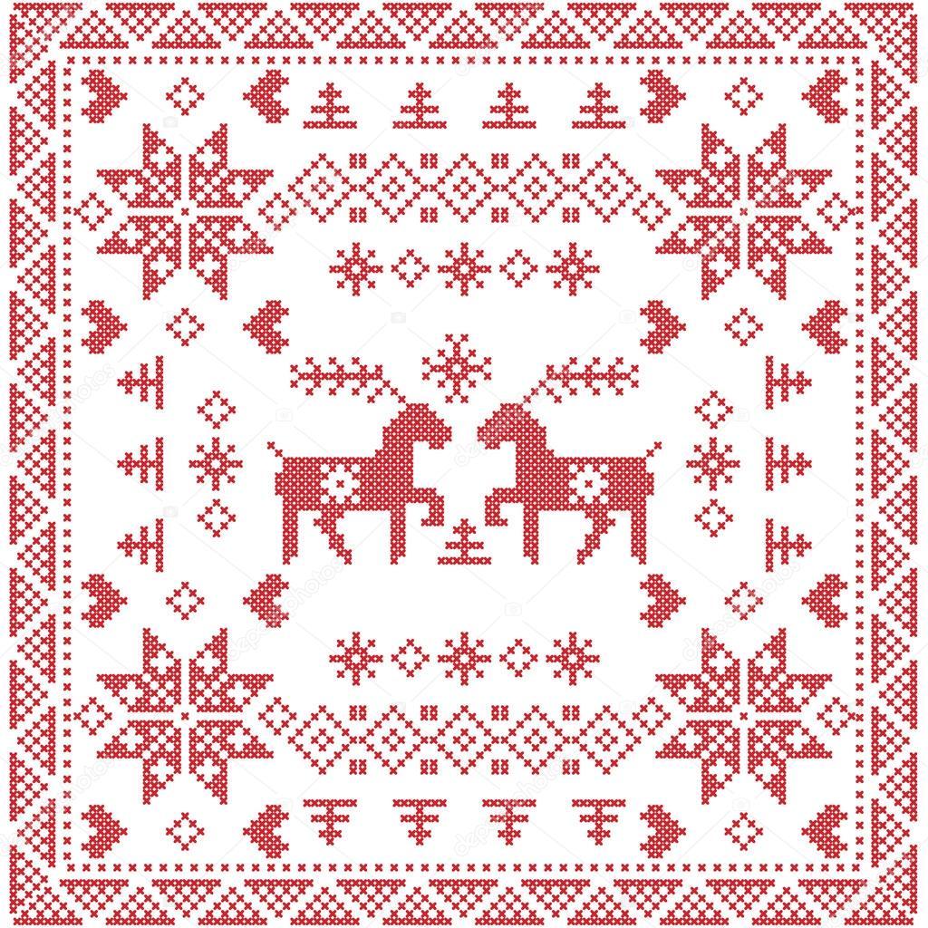 Scandinavian style Nordic winter stitch, knitting seamless pattern ...