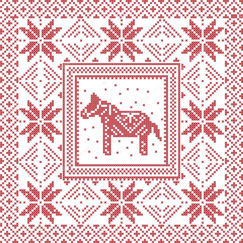 Scandinavian style Nordic winter cross stitch, knitting pattern in ...