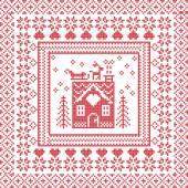 Fotografia Stitch inverno scandinavo Nordic, case di maglieria modello in piazza, mattonelle di forma compresi i fiocchi di neve, alberi, Pan di zenzero, cuori, renne, Babbo Natale in slitta, elementi decorativi su priorità bassa rossa