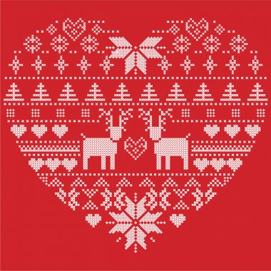Scandinavian Nordic winter stitch, knitting  christmas pattern in  in heart shape shape including snowflakes, xmas trees,reindeer, snow, stars, decorative elements, ornaments  on red background