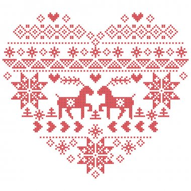 X1 Scandi Nordic Tree And Bauble Decorations Christmas Cross Stitch Chart
