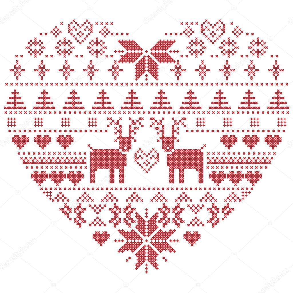 skandinavischen nordischen winter naht stricken weihnachten muster in herz form wei er. Black Bedroom Furniture Sets. Home Design Ideas