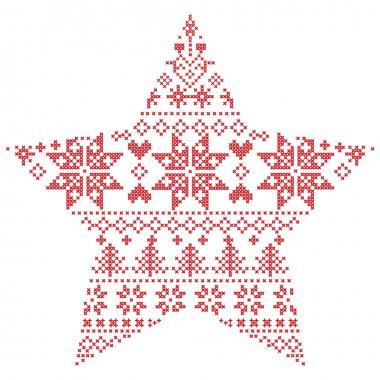 Scandinavian Nordic winter stitch, knitting  christmas pattern in  in star  shape shape including snowflakes, xmas trees, snow, stars, decorative elements, ornaments  on white background