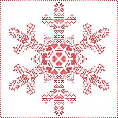 Scandinavian Nordic winter cross stitching, knitting  christmas pattern in  in  snowflake shape , with cross stitch frame including , snow, hearts, stars, decorative elements in red on white   background