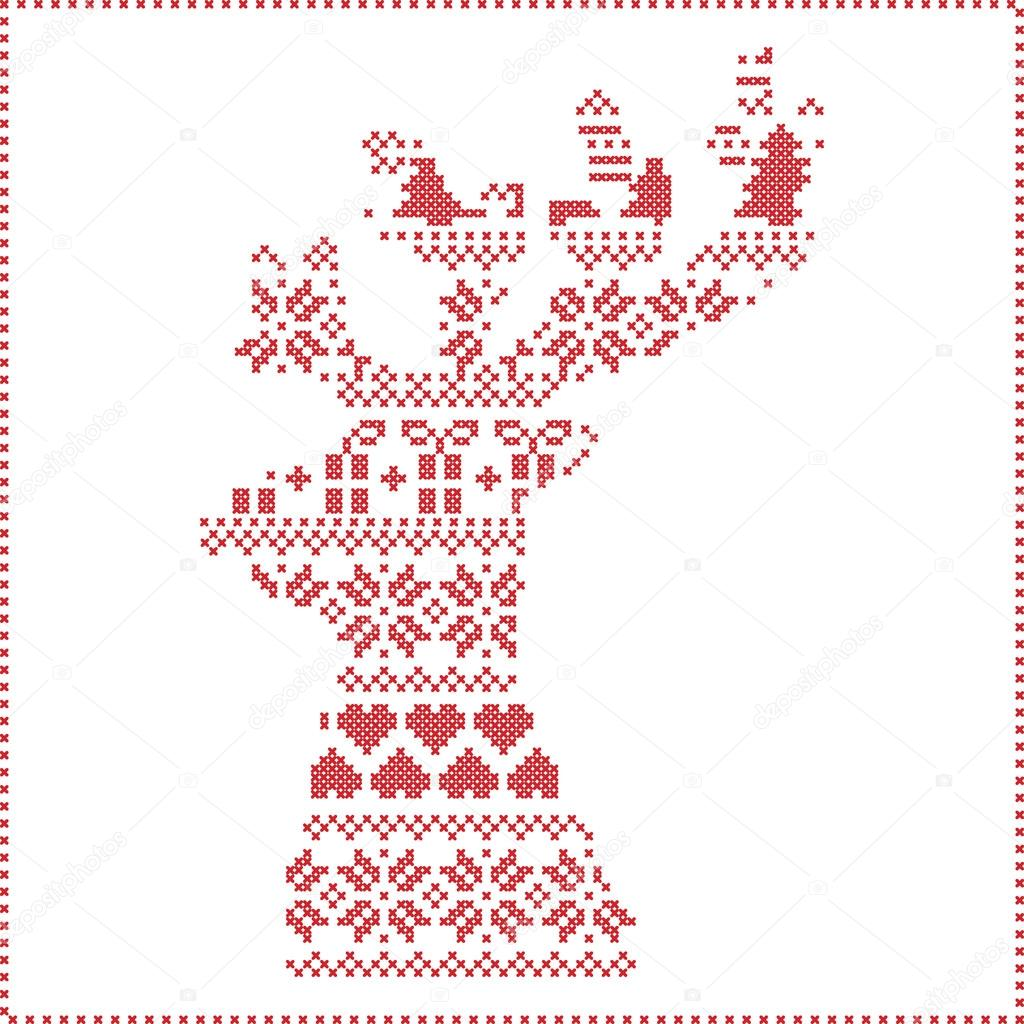 Skandinavischen nordischen Winter Nähen, stricken Muster in Rentier ...