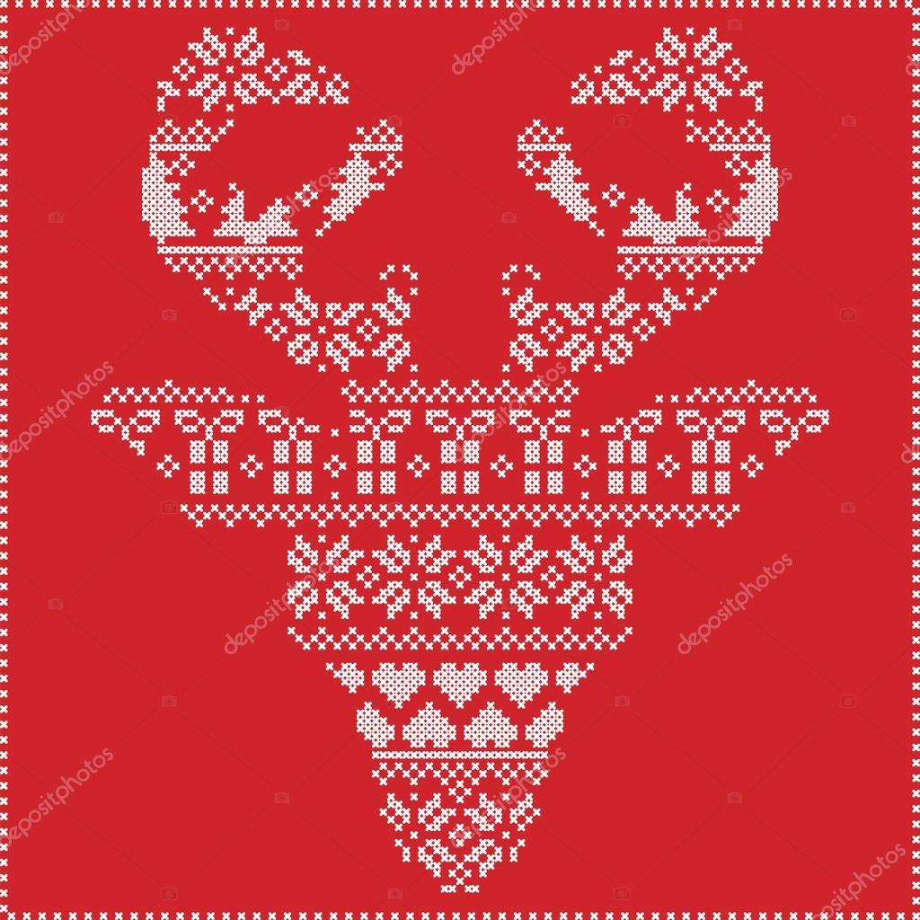 Skandinavischen nordischen Winter Nähen stricken Weihnachten Muster ...