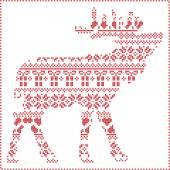 Fotografia Cuciture di inverno scandinavo Nordic maglieria modello natale in renna forma del corpo tra cui i fiocchi di neve, gli alberi di Natale di cuori regali di Natale, neve, stelle, ornamenti decorativi in bianco